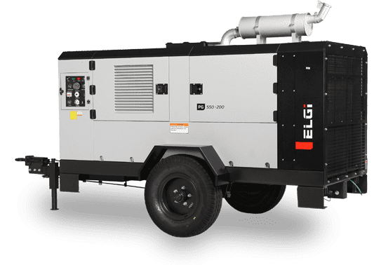 Diesel Powered Trolley Mounted Portable Air Compressor (185-1200 CFM)